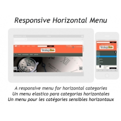"<p>A responsive menu for horizontal categories.</p> <p>The module adapts to your screen size (you need a responsive template). In small devices, the module loads a drop down menu for categories and links.</p> <p> </p> <p>Features:</p> <p>Multilingual</p> <p>Multi store (PS 1.5)</p> <p>Compatible with firefox, explorer, chrome, safari, opera</p> <p><img src=""http://dinorahdesign.com.ar/browser.jpg"" alt="""" /></p>"