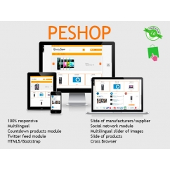 """<p><span>Peshop is a responsive template for Prestashop 1.6.x. ideal for computer / tech store, but you can use for any kind of store. This template is made with CSS3/Bootstrap/HTML5, that allows the theme to be fully responsive in any device.</span></p> <p><span><br /></span></p> <p><span>This template includes a lot of custom modules to get the latest ecommerce experience to the end user.</span></p> <p><span><br /></span></p> <h4><span><span style=""""text-decoration:underline;"""">The modules included are:</span></span></h4> <p><span><br /></span></p> <p><span><strong>Responsive slider</strong>: A slider of images, with text and description, fully responsive,</span><span style=""""font-size:11px;line-height:1.5em;"""">fully configurable, with support for touch devices for navigation.</span><span style=""""font-size:11px;line-height:1.5em;"""">You can move the hook (in top, home, footer and columns) and diffrent images/texts for each language.</span></p> <p><span style=""""font-size:11px;line-height:1.5em;""""><strong>Responsive Products</strong>:<span>Display featured products, news, offers and sales in a fully configurable module with slider.</span></span></p> <p><span style=""""font-size:11px;line-height:1.5em;""""><span><strong>Responsive brands</strong>:<span>Show your manufacturers or distributors with this magnificent carousel, and change the position to top, footer or home.</span></span></span></p> <p><span style=""""font-size:11px;line-height:1.5em;""""><span><span><strong>Social Tech</strong>:<span>a modul that will allow visitors access to social networks of your company (facebook, twitter, linkedin, google +1 and Pinterest) or share the content of your site.</span></span></span></span></p> <p><span style=""""font-size:11px;line-height:1.5em;""""><span><span><span><strong>Countdown Specials lite</strong>: D<span>isplay the limited-time offers as a countdown timer in the home page with a scroll.</span></span></span></span></span></p> <p><span style=""""font-size:11px;line-height:1.5em;""""><span><span"""