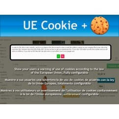"<p>Cookie Compliance is an EU law.you can inform to your customers in a nice way with a fully customizable module.</p> <p>With UE Cookie +, you can show a warning message to all customers to accept o deny cookies.</p> <p>The module allow to configure a redirection URL if the user dont accept cookies, block entire site or show the warning in the top, configure all colors, and configure the message in any language.</p> <p> </p> <p><strong>Features</strong>:</p> <p> </p> <ul><li>Cross browser</li> </ul><p><img src=""http://www.catalogo-onlinersi.com.ar/img/browsers.png"" alt="""" width=""450"" height=""110"" /></p> <p> </p> <ul><li>Multilingual </li> </ul><p><img src=""http://www.catalogo-onlinersi.com.ar/img/multilingual.png"" alt=""multilingual.png"" /></p> <ul><li>Multistore</li> </ul><p><img src=""http://www.catalogo-onlinersi.com.ar/img/multistore.png"" alt=""multistore.png"" /></p>"