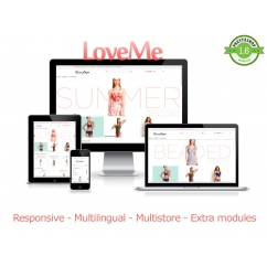 "<p>LoveME is a responsive template, includes exclusive features like sticky menu, full animation of elements (products, blocks, links) on hover and when scroll down the page. Also includes the smooth scroll, to get a fluid scroll when scroll the page and much more!!!</p> <p>This template comes with a lot of custom modules, so you can configure every module from back office.</p> <p> </p> <h4 class=""animated fadeInUp fadeInLeft"">The modules included are: </h4> <p>Responsive slider: A slider of images, with text and description, fully responsive,fully configurable, with support for touch devices for navigation. You can move the hook  (in top, home, footer and columns) and different images/texts for each language.</p> <p>Responsive products:Display new products, best sales, featured and sales in home page</p> <p>Social stream: Show your Facebook, Twitter, Instagram and Google+1 latest posts in your home page. You can set accounts or hashtags and many accounts for same social network!!!</p> <p>Brands slider: Show manufacturers or suppliers in a carrousel</p> <p>Go to top: Go to top button with 7 different styles</p> <p> </p> <p><strong>Features</strong>:</p> <p>Responsive</p> <p>HTML5/Bootstrap</p> <p>Extra modules</p> <p>Multistore</p> <p>Multilingual</p> <p>Cross browser </p> <p>Animated elements</p> <p> </p> <p>Live demo:</p> <p><a href=""http://prestashoptemplates.com.ar/test112/en/"">http://prestashoptemplates.com.ar/test112/en/</a></p> <p> </p> <p><img src=""https://catalogo-onlinersi.net/img/cms/cat.png"" alt="""" /></p> <p><img src=""http://www.catalogo-onlinersi.net/img/2-multilingual.png"" alt="""" width=""616"" height=""258"" /></p> <p><img src=""http://www.catalogo-onlinersi.net/img/3-browsers.png"" alt="""" width=""616"" height=""258"" /></p> <p><img src=""http://www.catalogo-onlinersi.net/img/04-multistore.png"" alt="""" width=""616"" height=""258"" /></p> <p><img src=""http://www.catalogo-onlinersi.net/img/05-modules.png"" alt="""" width=""616"" height=""258"" /></p>"