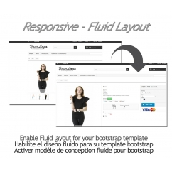 "<p>Enable Fluid layout for your bootstrap template.</p> <p>With this module, you can enable in 1 click, the fluid option of bootstrap and get 100% of the width in yout template. Your template must be compatible with bootstrap.</p> <p></p> <p><strong>Features</strong>:</p> <ul> <li>Easy to install</li> <li>Cross browser</li> </ul> <p><img src=""http://www.catalogo-onlinersi.com.ar/img/browsers.png"" alt="""" /></p> <ul> <li>Multilingual</li> </ul> <p><img src=""http://www.catalogo-onlinersi.com.ar/img/multilingual.png"" alt="""" /></p> <ul> <li>Multistore</li> </ul> <p><img src=""http://www.catalogo-onlinersi.com.ar/img/multistore.png"" alt="""" /></p> <ul> <li>Responsive</li> </ul> <p><img src=""http://www.catalogo-onlinersi.com.ar/img/responsive.png"" alt="""" width=""450"" height=""110"" /></p> <p><strong>Video</strong></p> <p><iframe width=""640"" height=""360"" src=""https://www.youtube.com/embed/6AZfhaIQnNY?rel=0&showinfo=0"" frameborder=""0"" allowfullscreen=""allowfullscreen""></iframe></p>"