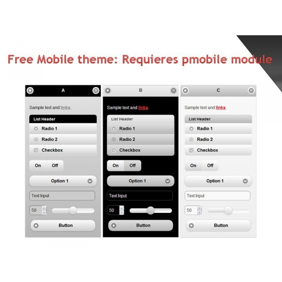 Free mobile theme for Pmobile