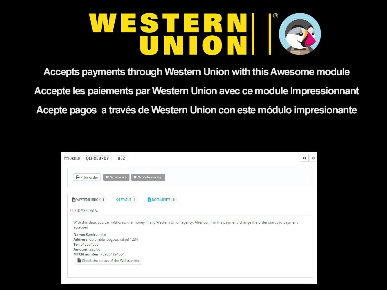 WesternUnion + PrestaShop module