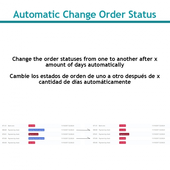 Change order status automatically
