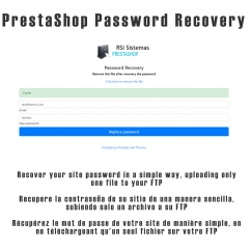 PrestaShop Password Recovery