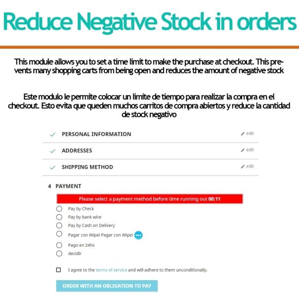 Reduzca el stock negativo en pedidos